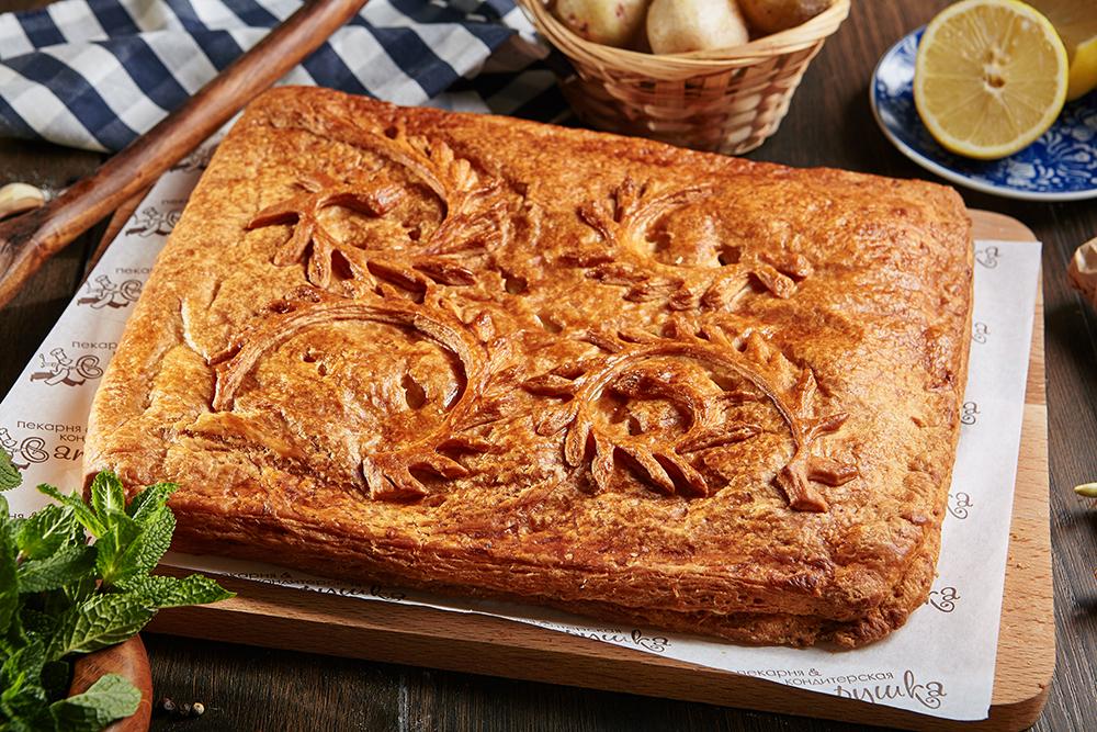 Пирог с филе горбуши и картофелем 2