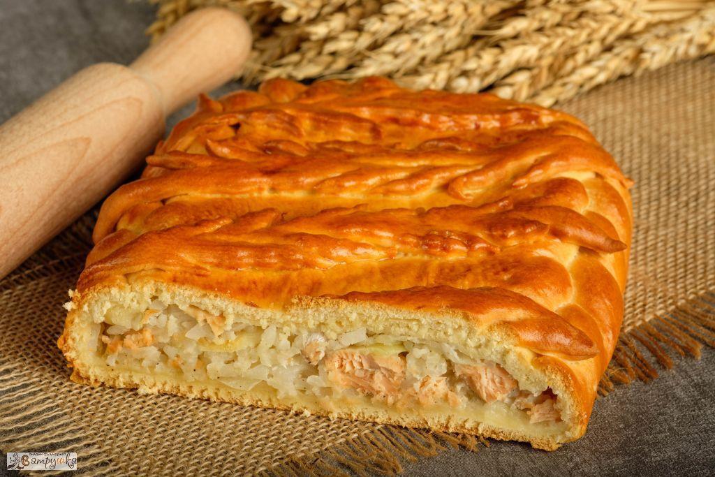 Пирог с форелью речной и рисом 0