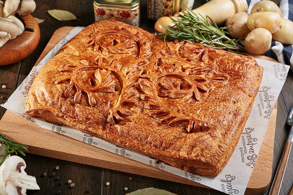 Пирог с курицей, грибами и картофелем 2