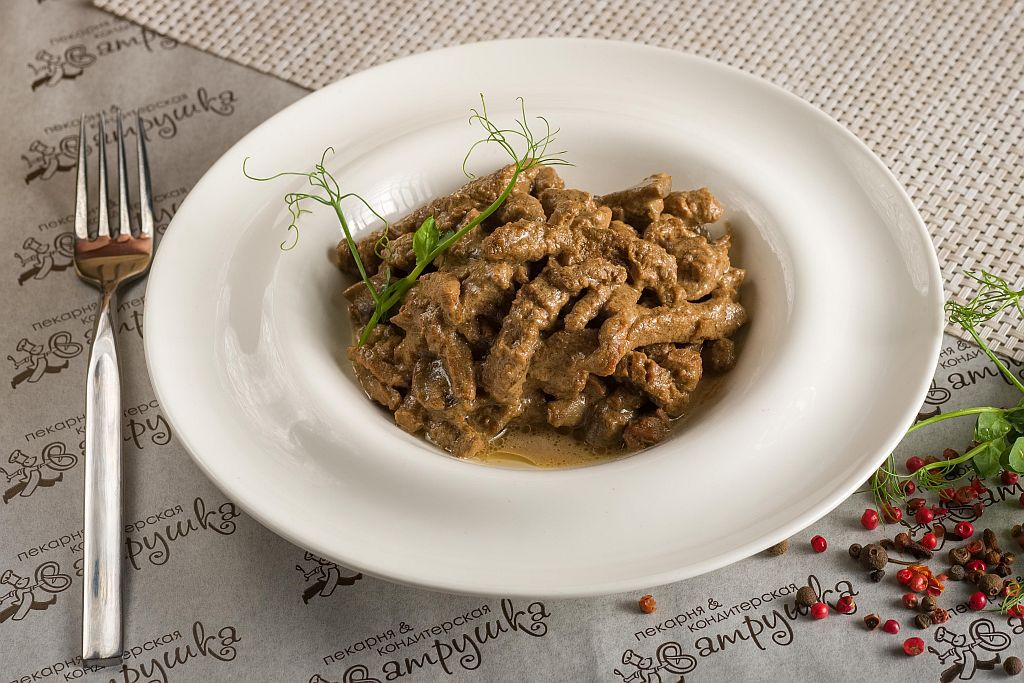 Бефстроганов из говядины с грибами в сливочном соусе 250 гр 0